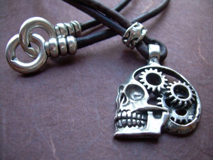 Minimalist Cog and Gears Steampunk Skull Pendants