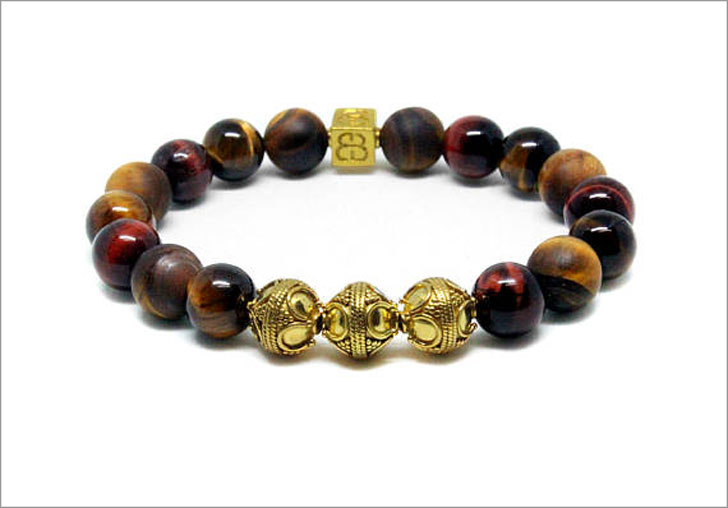 Mixed Tiger's Eye and Gold Beaded Bracelet