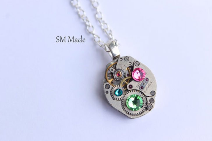 Mothers Birthstone Steampunk Necklaces