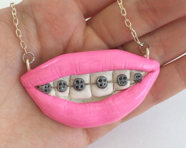 Mouth With Braces And Pink Lips Necklace - unusual necklaces