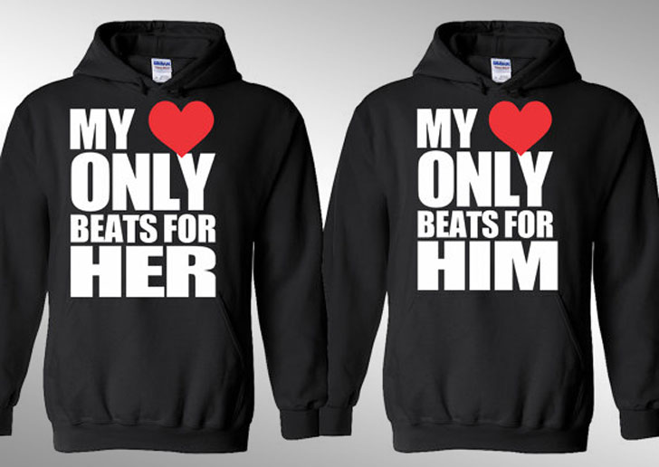 My Heart Only Beats For Him and Her Hoodies
