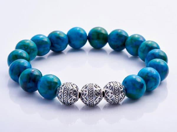 Natural energy Blue Turquoise Bracelet - men's beaded bracelet