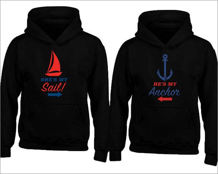 Nautical Theme Sail and Anchor Couple Hoodies