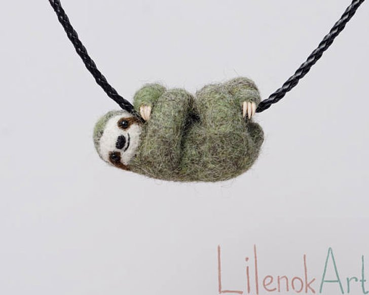 Needle Felted Sloth Necklaces - unusual necklaces