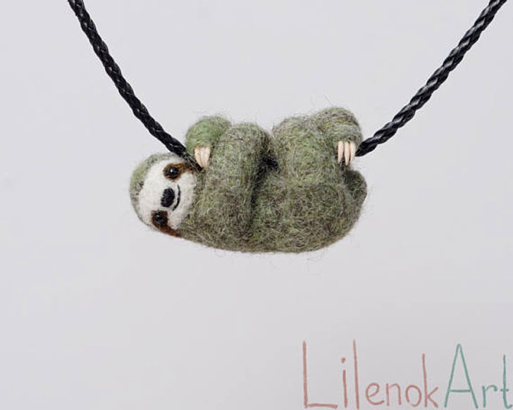 Needle Felted Sloth Necklaces - unusual necklaces