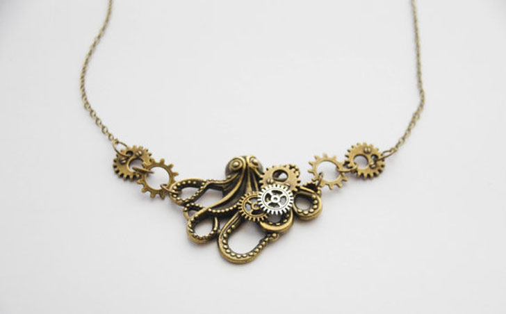Octopus Watch Parts Necklace
