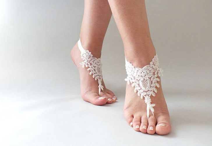 Off White Lace Barefoot Wedding Sandals