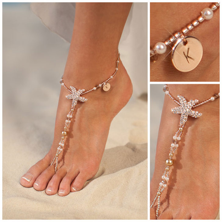 Personalised Rose Gold Barefoot Beach Sandals Bride
