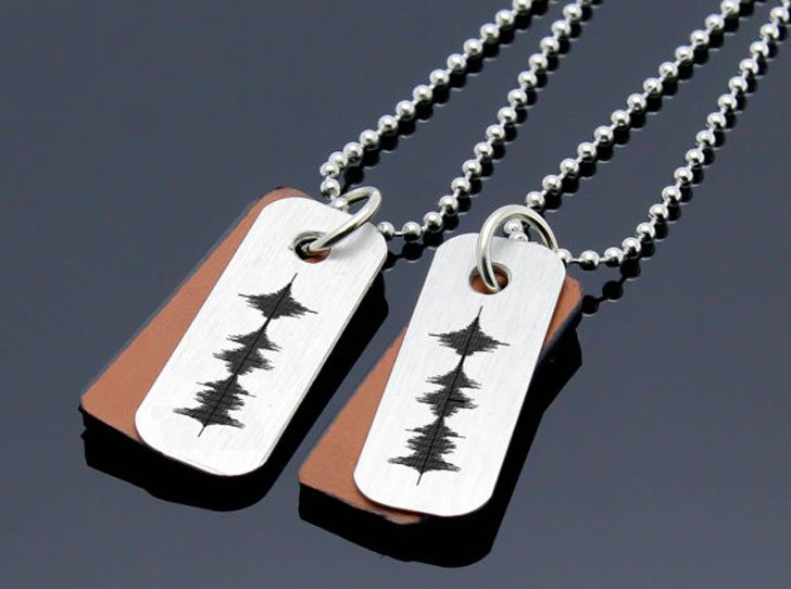 Personalised Voice Recorded Sound Wave Couples Necklaces