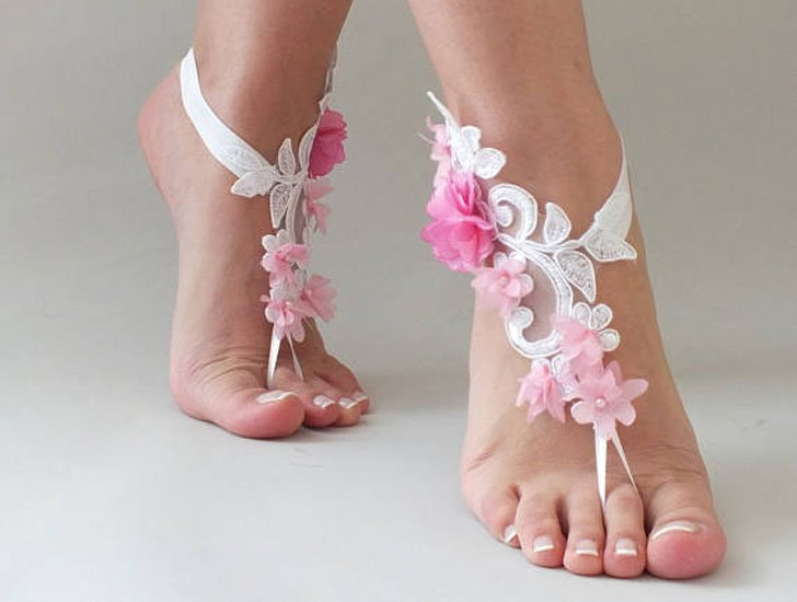 Pink Flower Bridesmaids Beach Sandals Attire
