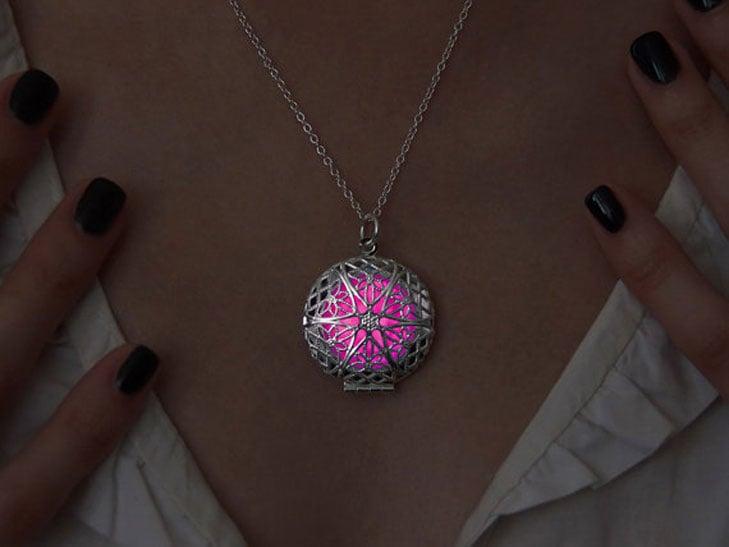 Pink Glow Steampunk Pendant