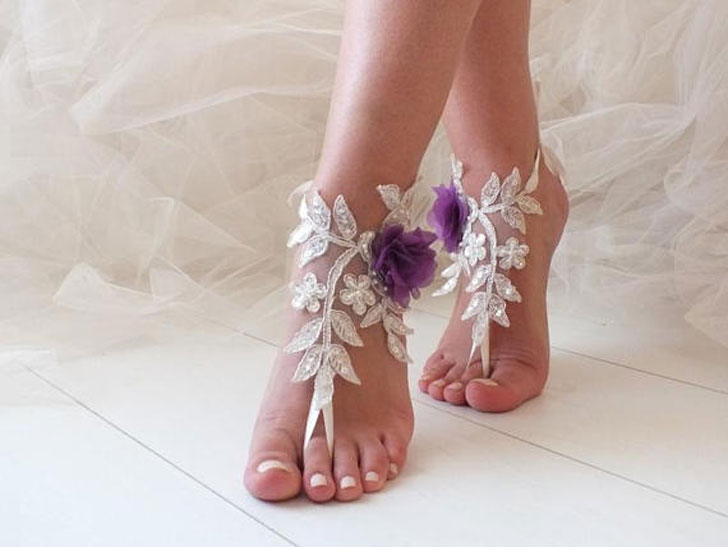 Purple Flower Beach Sandals Honeymoon