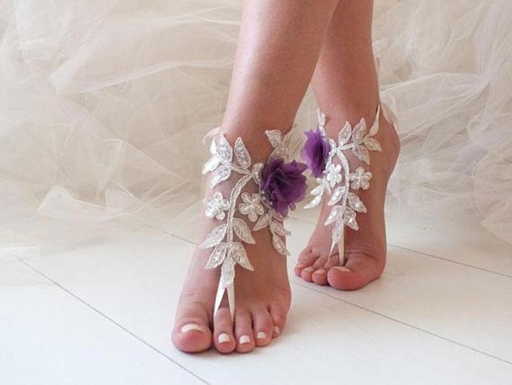 Purple Flower Beach Sandals