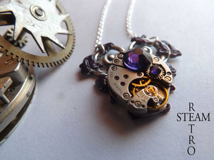 Purple Heart Steampunk Necklace
