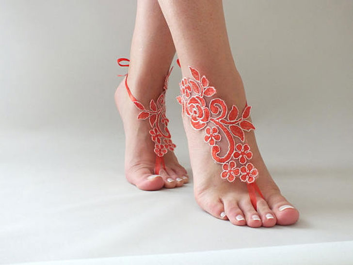Red Lace Bridal Sandals