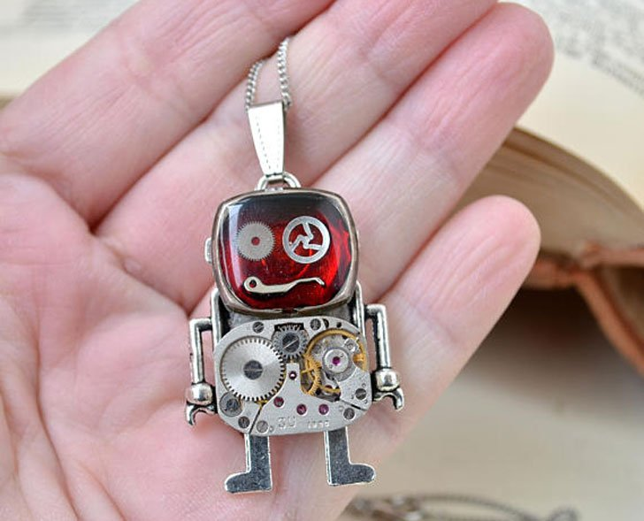 Red Robot Steampunk Necklace