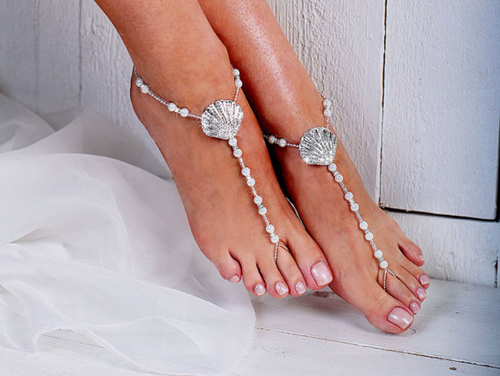 Rhinestone Beach Shell Barefoot Wedding Sandals Bride and Groon