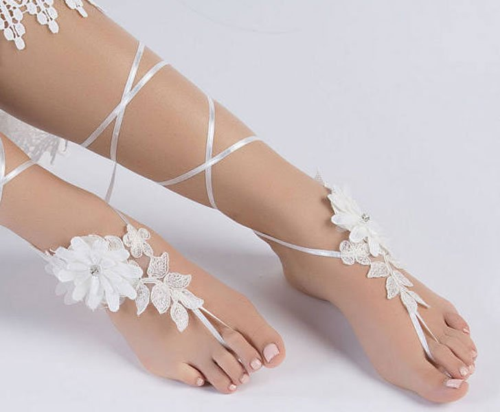 Brides Romantic Lace Barefoot Sandals