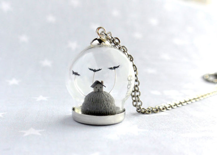 Scary Little Gray House Halloween Necklace