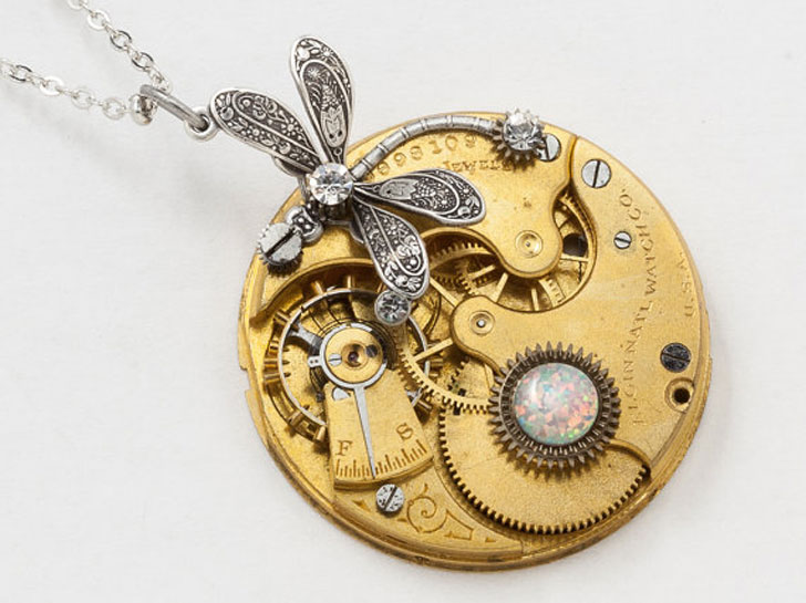 Silver Dragon Fly with Opal Steampunk Necklace