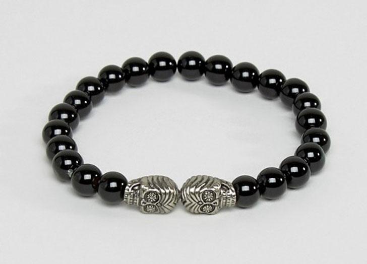 Simon Carter Skull Beaded Bracelet in Onyx
