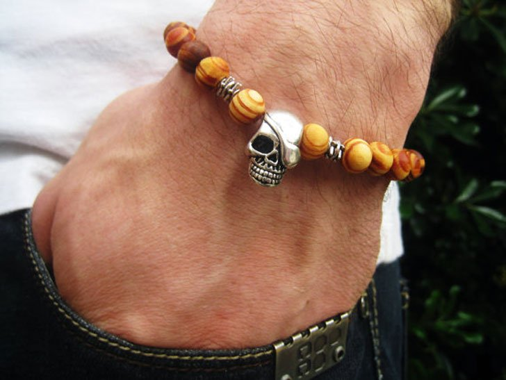 Skull And Wooden Bead Bracelet
