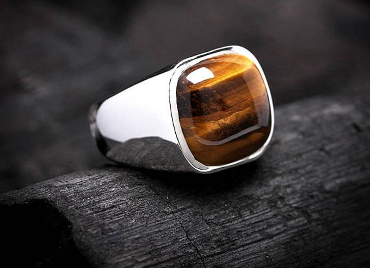 Square Cushion Natural Tiger Eye Gemstone Ring