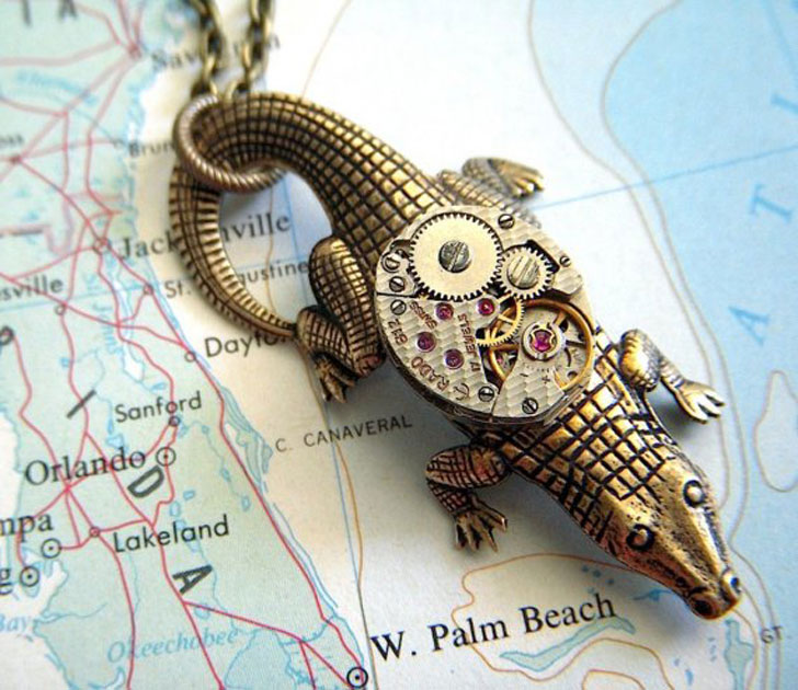 Steampunk Alligator Necklace