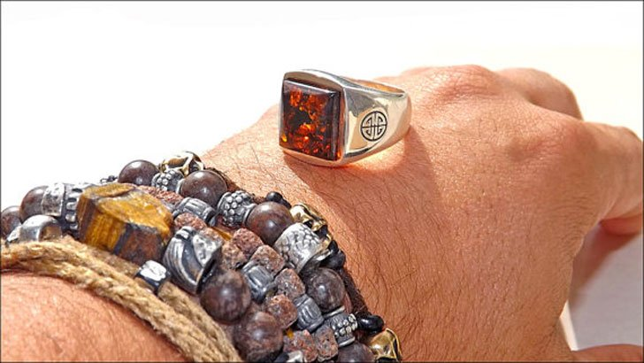 Sterling Silver & Amber Gemstone Ring