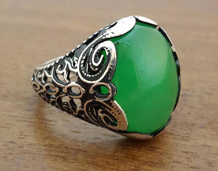 Sterling Silver Green Jade Gemstone Ring - Men's Gemstone Rings