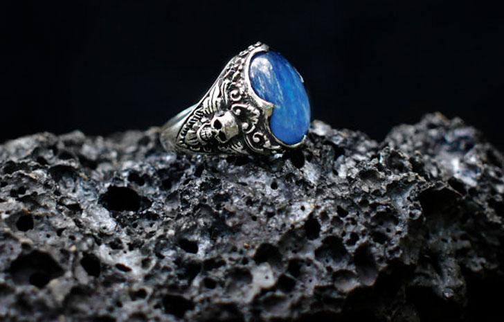 """Sterling Silver Kyanite """"Elysium"""" Skull Ring- Men's Gemstone Rings"""