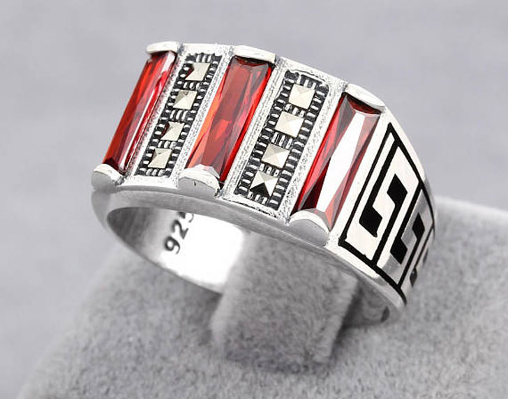 Sterling Silver Red Zircon and Marcasite Men's Ring