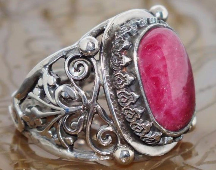 Sterling Silver with Natural African Ruby Gemstone Ring