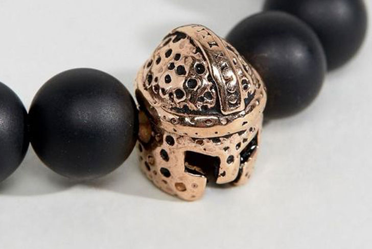 Steve London Spartan Black And Gold Beaded Bracelet