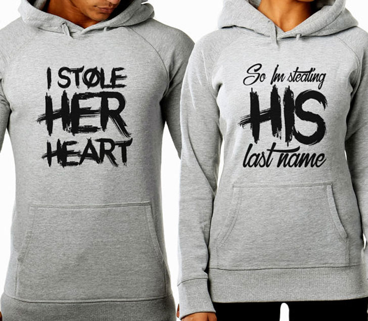Stole Her Heart and Stealing His Last Name Hoodies