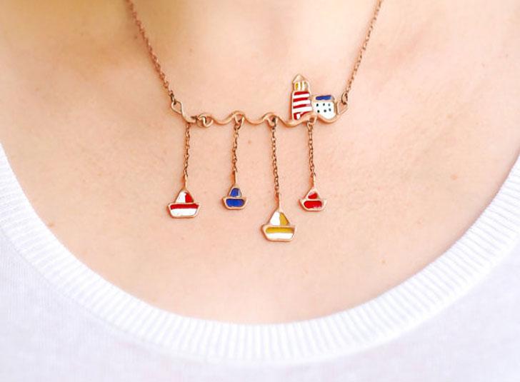 Summer Ocean Scene Necklace
