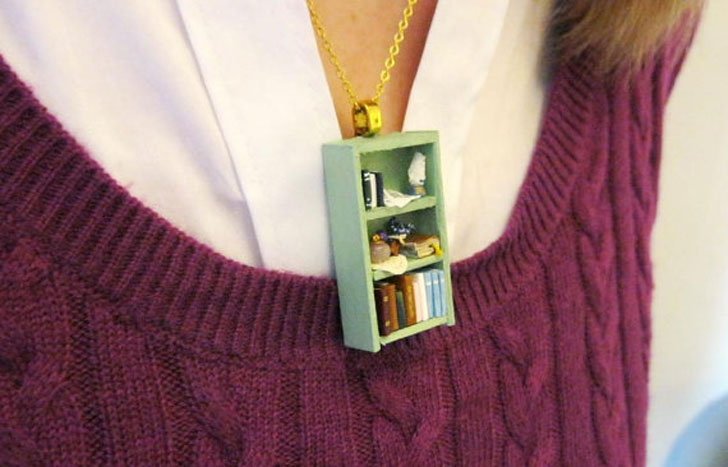 Tea Shop Book Shelf Necklaces