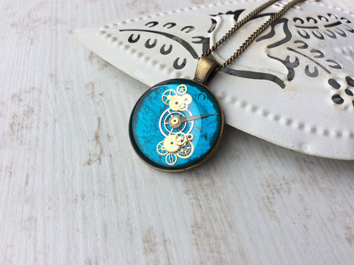 Teal Cog & Gears Steampunk Necklace