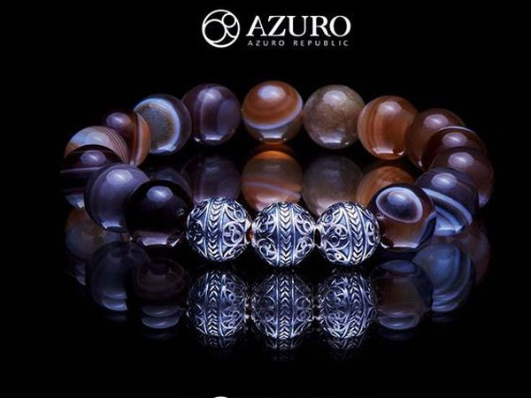 The Azuro Republic Handcrafted Men'sBeaded Bracelet
