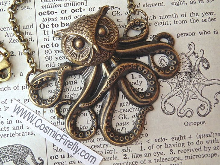 The Octopus Owl Victorian Monster Necklace