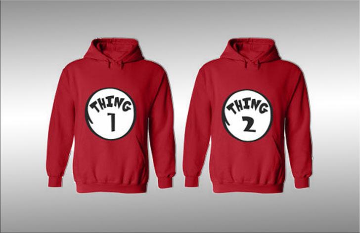 Thing 1 & Thing 2 Hoodies - cute couples hoodies