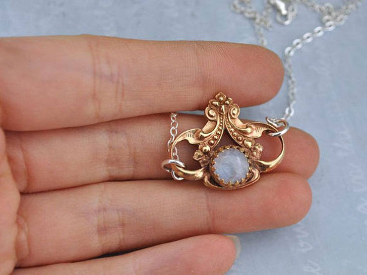 Victorian Style Octopus & Moonstone Necklace