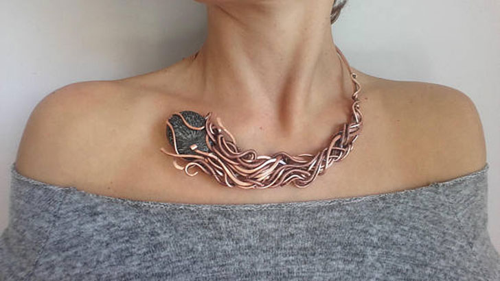 Weird Copper Wire Wrapped Necklace