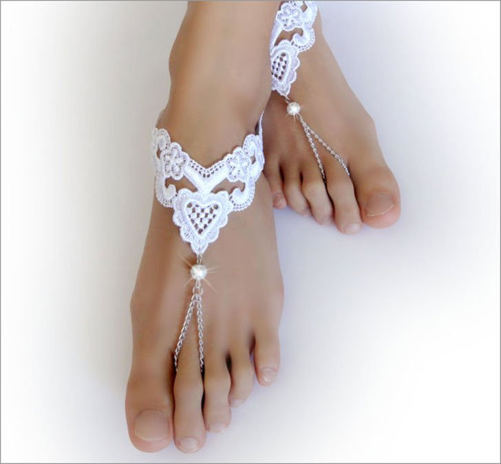 White Pearl & Heart Barefoot Beach Sandals Cross Country