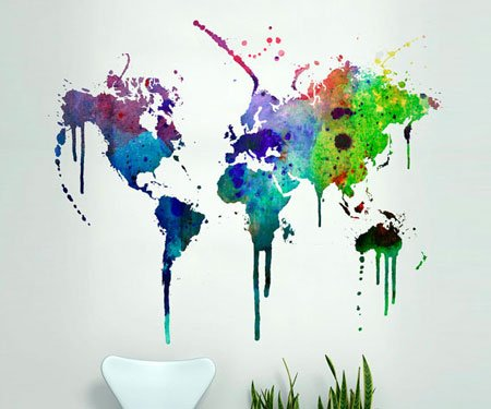 World Map Water Color Decal
