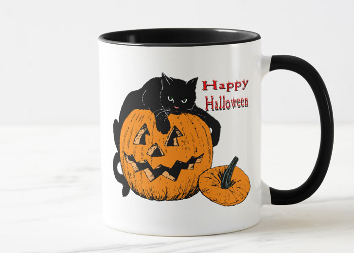 Black Cat Pumpkin Mug