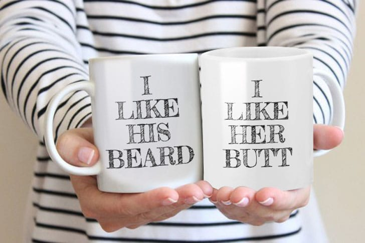 I Like His Beard and Her Butt Couples Mugs