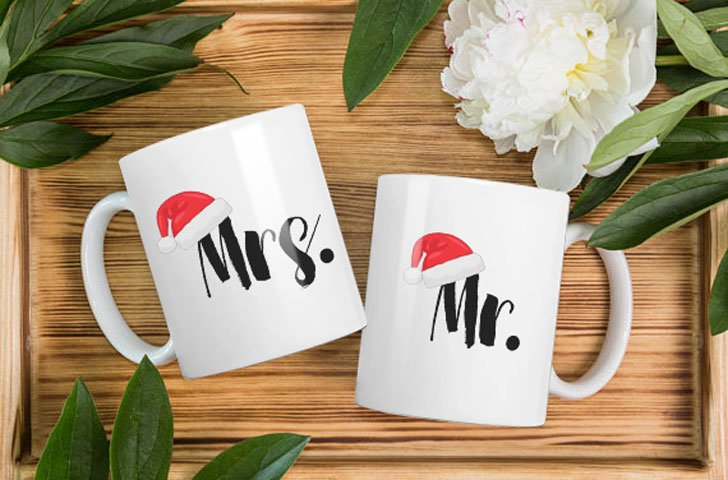 Mr and Mrs Xmas Mug Set