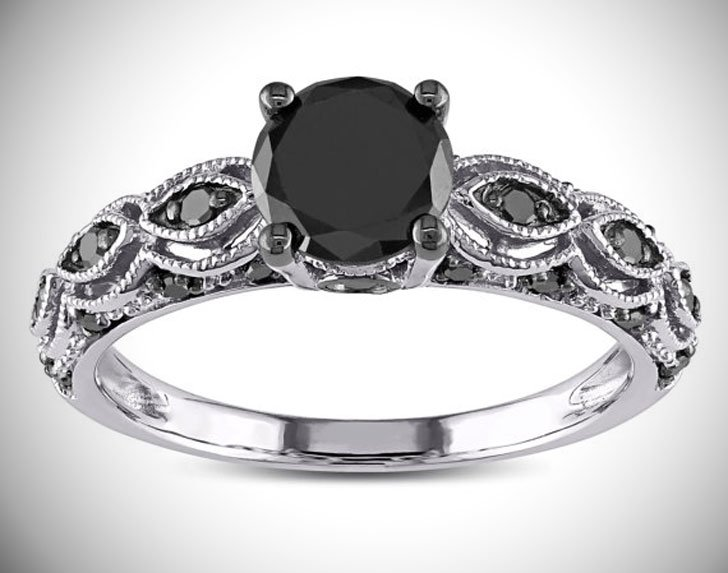 1.25 Carat Round Black Diamond Engagement Ring