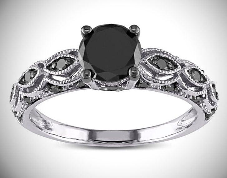 1.25 Carat Round Black Diamond Engagement Ring